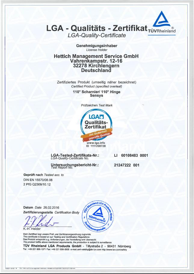 Certyfikat Zawiasy Hettich