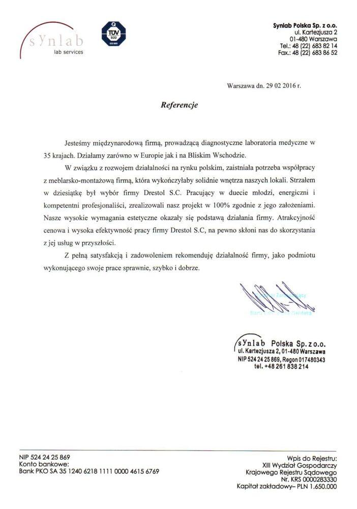 Referencje Synlab Polska